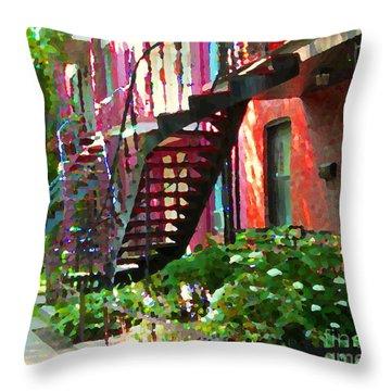 Walking Verdun Spiral Staircases Graceful Circular Steps Montreal Colorful Scenes Carole Spandau  Throw Pillow by Carole Spandau