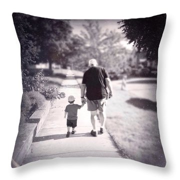 Walking With Grandpa Throw Pillow