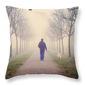 Walking With The Dog Throw Pillow
