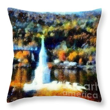 Walkway Over The Hudson Autumn Riverview Throw Pillow