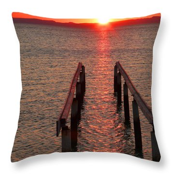 Throw Pillow featuring the photograph Walkway To The Sun by Alan Socolik