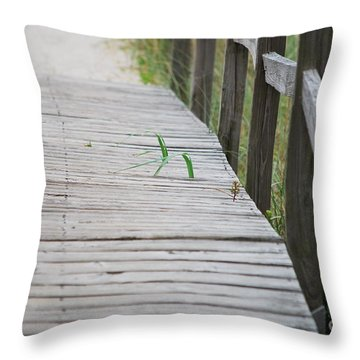 Throw Pillow featuring the photograph Walkway Weeds by Bob Sample