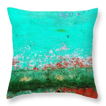 Throw Pillow featuring the digital art Wall Abstract 111 by Maria Huntley
