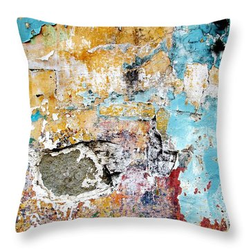Throw Pillow featuring the digital art Wall Abstract 124 by Maria Huntley