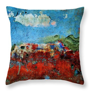 Throw Pillow featuring the digital art Wall Abstract 14 by Maria Huntley