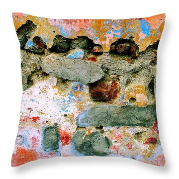 Throw Pillow featuring the digital art Wall Abstract 15 by Maria Huntley