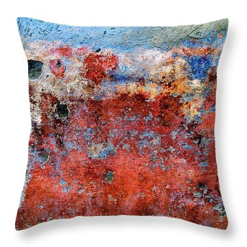 Throw Pillow featuring the digital art Wall Abstract 17 by Maria Huntley