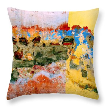 Throw Pillow featuring the digital art Wall Abstract 7 by Maria Huntley