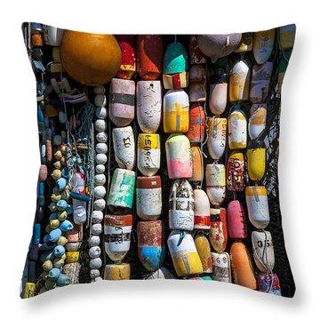 Wall Of Fishing Buoys Throw Pillow