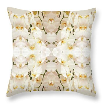 Wall Of Orchids II Panorama Throw Pillow