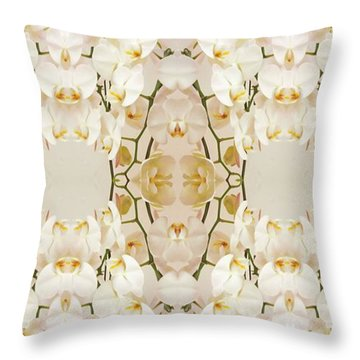 Wall Of Orchids Panorama Throw Pillow