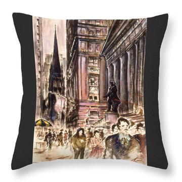 New York Wall Street - Fine Art Throw Pillow