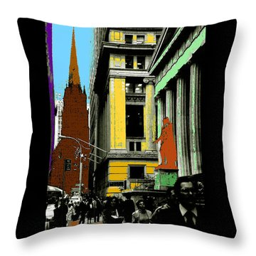 New York Pop Art In Blue Green Red Yellow Throw Pillow