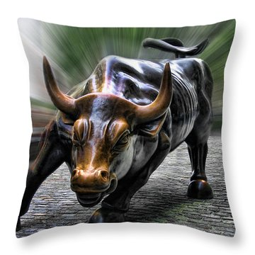 Wall Street Bull Throw Pillow