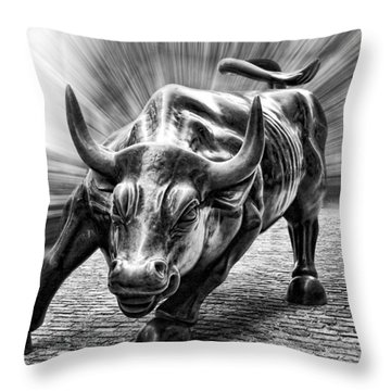 Wall Street Bull Black And White Throw Pillow