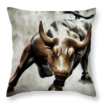 Wall Street Bull II Throw Pillow