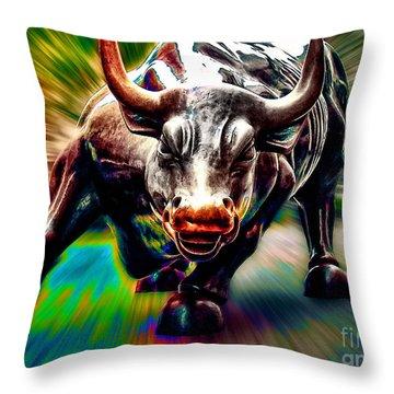 Wall Street Bull Throw Pillow by Marvin Blaine