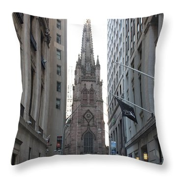 Wall Street Leading To Trinity Church Throw Pillow