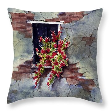 Wall With Red Flowers Throw Pillow by Sam Sidders