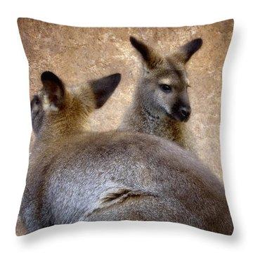 Wallabies Throw Pillow by Ellen Heaverlo