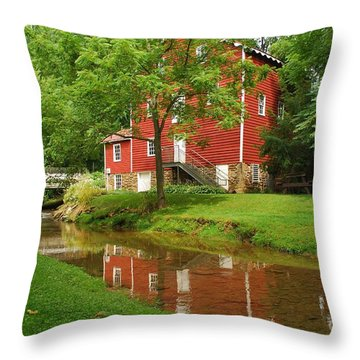 Wallace Cross Grist Mill Reflections Throw Pillow by Bob Sample