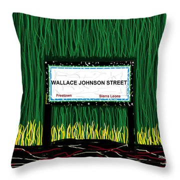 Throw Pillow featuring the mixed media Wallace Johnson Street by Mudiama Kammoh