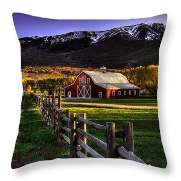 Wallsburg Red Barn Throw Pillow