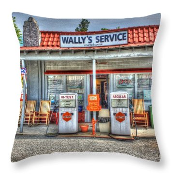 Wally's Service Station Throw Pillow by Dan Stone