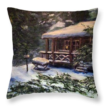 Walsh Cabin On Cranberry Lake Throw Pillow