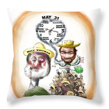 Walt Whitman Meets Clint Eastwood Throw Pillow by Mark Armstrong