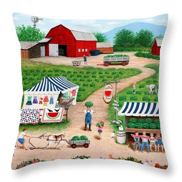 Walter's Watermelons Throw Pillow