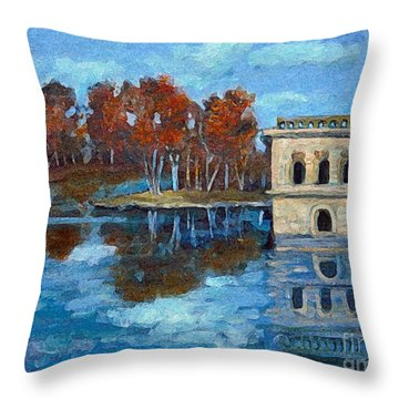 Throw Pillow featuring the painting Waltham Reservoir by Rita Brown