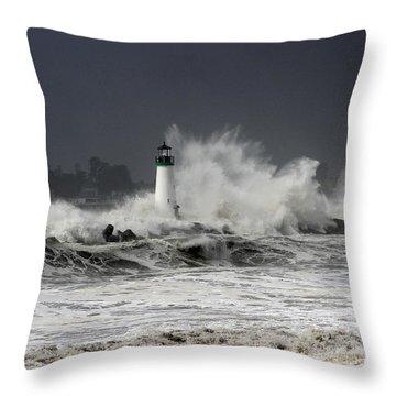 Walton Lighthouse Takes A Beating Throw Pillow