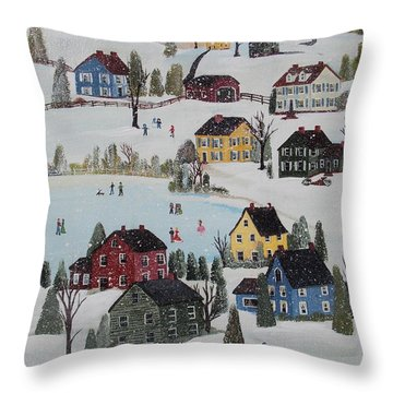 Throw Pillow featuring the painting Waltzing Snow by Virginia Coyle