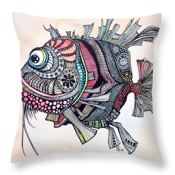 Wanda The Fish Throw Pillow by Iya Carson