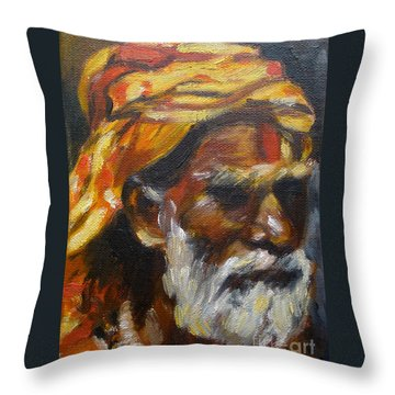 Throw Pillow featuring the painting Wandering Sage Small by Mukta Gupta
