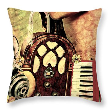 Throw Pillow featuring the mixed media War Dreams by Ally  White