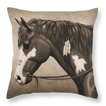 War Horse Aged Photo Fx Throw Pillow