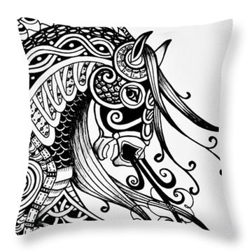 Throw Pillow featuring the drawing War Horse - Zentangle by Jani Freimann