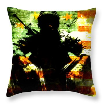 Throw Pillow featuring the painting War Is Hell by Brian Reaves