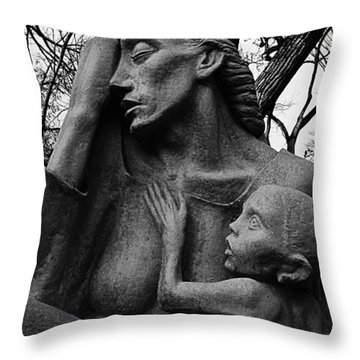 War Mother By Charles Umlauf In Black And White Throw Pillow