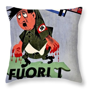 War Poster - Ww2 - Out With The Fuhrer Throw Pillow by Benjamin Yeager