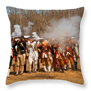 War - Revolutionary War - The Musket Drill Throw Pillow by Mike Savad