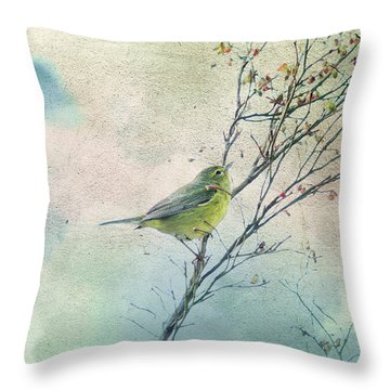 Warbler In A Huckleberry Bush Throw Pillow by Peggy Collins