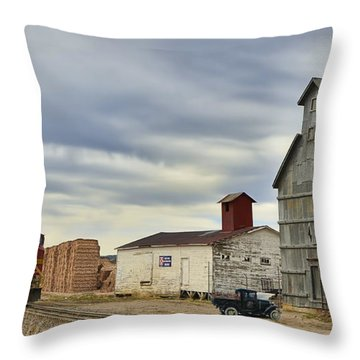 Warbonnet Passing The Grain Elevator Throw Pillow by Ken Smith