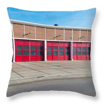 Warehouse With Red Doors Throw Pillow by Hans Engbers