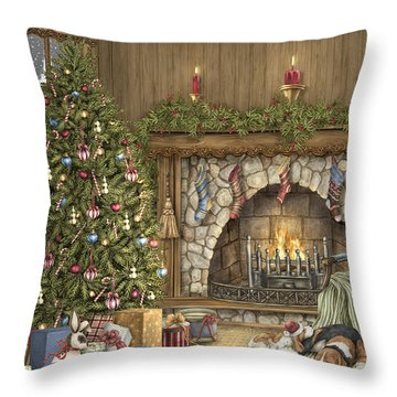 Warm Christmas Throw Pillow