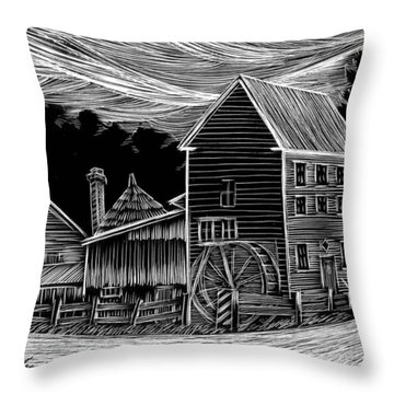 Warm Springs Grist Mill Throw Pillow by Jim Harris