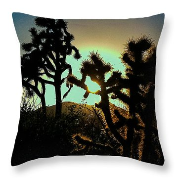 Warmed By The Golden One Throw Pillow by Angela J Wright