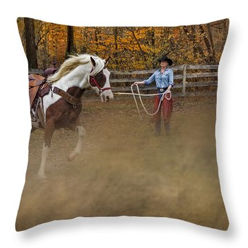 Warming Up Throw Pillow by Susan Candelario